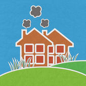 Factory on green grass  with stitch style on fabric background — Stock Photo