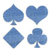 Card symbol set with stitch style on denim background — 图库照片