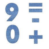 Number with stitch design elements on denim texture — Stockfoto