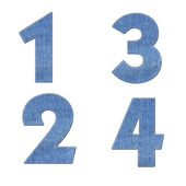Number with stitch design elements on denim texture — Stock Photo