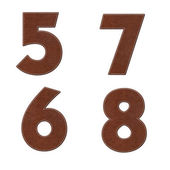 Number with stitch design on leather elements — Stock Photo