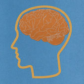 Brain with stitch style on fabric background — Stok fotoğraf