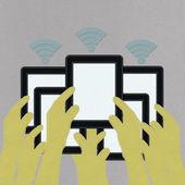 Traga seu próprio conceito de dispositivo com o estilo do ponto na tela est — Fotografia Stock
