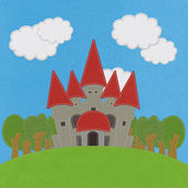 Fairy-tale castle on a green field with stitch style on fabric b — Zdjęcie stockowe