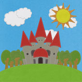 Fairy-tale castle on a green field with stitch style on fabric b — Stock Photo
