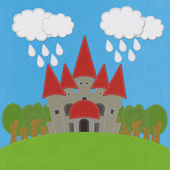 Fairy-tale castle on a green field with stitch style on fabric b — 图库照片