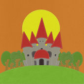 Fairy-tale castle on a green field with stitch style on fabric b — Stockfoto