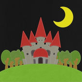 Fairy-tale castle on a green field with stitch style on fabric b — Стоковое фото