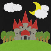 Fairy-tale castle on a green field with stitch style on fabric b — Stok fotoğraf