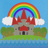 Fairy-tale castle on a green field with stitch style on fabric b — ストック写真
