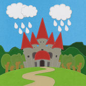 Fairy-tale castle on a green field with stitch style on fabric b — Foto de Stock