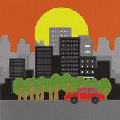 Budynek i samochód z ściegu styl na tkanina tło — Zdjęcie stockowe