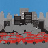 Byggnad och bil med stygn stil på tyg bakgrund — Stockfoto