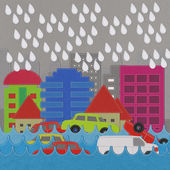 Morden Building and flooding crisis with stitch style on fabric  — Stock Photo