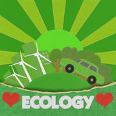 ECO concept with stitch style on fabric background — Stock Photo