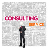 Business word cloud for business and finance concept, Consulting service — Stock Photo
