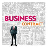 Business word cloud for business and finance concept, Business contract — 图库照片