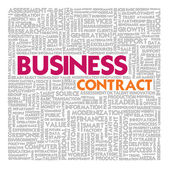Business word cloud for business and finance concept, Business contract — Photo