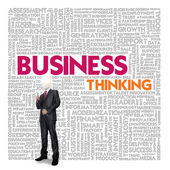 Business word cloud for business and finance concept, Business thinking — Stok fotoğraf
