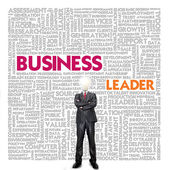 Business word cloud for business and finance concept, Business Leader — Stok fotoğraf
