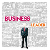 Business word cloud for business and finance concept, Business Leader — Photo