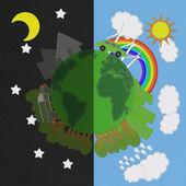 Ecology day and night concept with stitch style on fabric background — Stock Photo