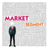 Business word cloud for business and finance concept, Market Segment — Stock Photo