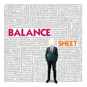 Business word cloud for business and finance concept, Balance sheet — Foto Stock