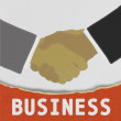 Stock Photo: Businessmen shaking hands with stitch style on fabric background