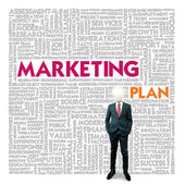 Business word cloud for business and finance concept, Marketing Plan — Foto de Stock