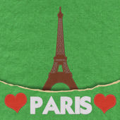 Eiffel tower, Paris. France in stitch style on fabric background — Foto Stock