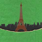 Eiffel tower, Paris. France in stitch style on fabric background — ストック写真