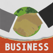 Businessmen shaking hands with stitch style on fabric background — Stock Photo