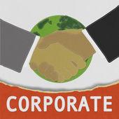 Empresarios de la mano con el estilo de la puntada sobre fondo de tela — Foto de Stock