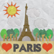 Stock Photo: Eiffel tower, Paris. France in stitch style on paper texture bac