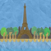 Eiffel tower, Paris. France in stitch style on paper texture bac — Stock Photo