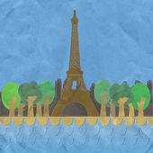 Eiffeltornet, paris. Frankrike i stygn stil på papperet konsistens bac — Stockfoto