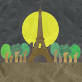 Eiffel tower, Paris. France in stitch style on paper texture bac — Foto Stock