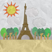 Eiffel tower, Paris. France in stitch style on paper texture bac — Stockfoto