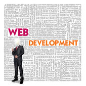 Word cloud for business and finance concept, Web Development — Stock Photo