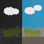 Weather seasonal concept in stitch style on fabric background — Stock Photo