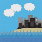 Sea scape and city with stitch style on fabric background — Stock Photo