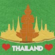 Thailand travel concept withi stitch style on fabric background — 图库照片 #42262127