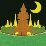 Thailand travel concept withi stitch style on fabric background — Stock Photo #42262757