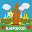 Thailand travel concept withi stitch style on fabric background — Foto Stock