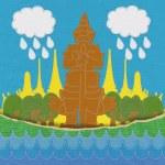 泰国旅游概念栅绣风格对织物背景 — 图库照片 #42263149