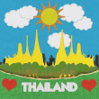 Thailand travel concept withi stitch style on fabric background — Photo #42263561