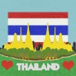 Thailand travel concept withi stitch style on fabric background — Stock Photo