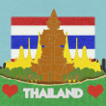 Thailand reizen concept withi steek stijl op stof achtergrond — Stockfoto #42264215