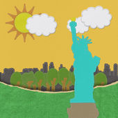 Statue of Liberty in stitch on fabric background — Stock Photo